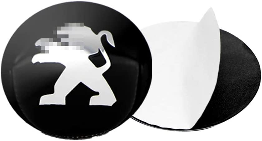 LOPLP El Centro de Rueda de Coche Cubierta de la Etiqueta engomada Casquillos de Eje tapacubos Emblema de la Insignia Covers Adhesivos para Peugeot 108 206 207 107 308 307 508 2008 3008,56mm