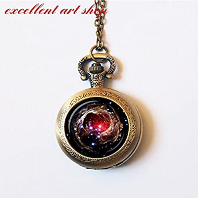 Astronomy Pocket Watch - Angel Pendant Helix Nebula, Cosmic Pocket Watch - Galaxy Pendant Series