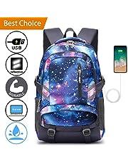E-ZONED Zaino Scuola Superiore per PC 15.6 Pollici da Donna e Uomo, Backpack Portabile Casual Rucksack per Laptop Universita Viaggio con Presa Ricarica USB