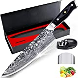 Chef Knife - MOSFiATA 8' Super Sharp Professional Chef's Knife with Finger Guard and Knife Sharpener, German High Carbon Stainless Steel 4116 with Micarta Handle, Kitchen Knife in Gift Box
