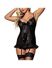 Zerolove Lace Babydoll Sexy Chemise Backless Nighties Short Lingerie Set (M-6XL)