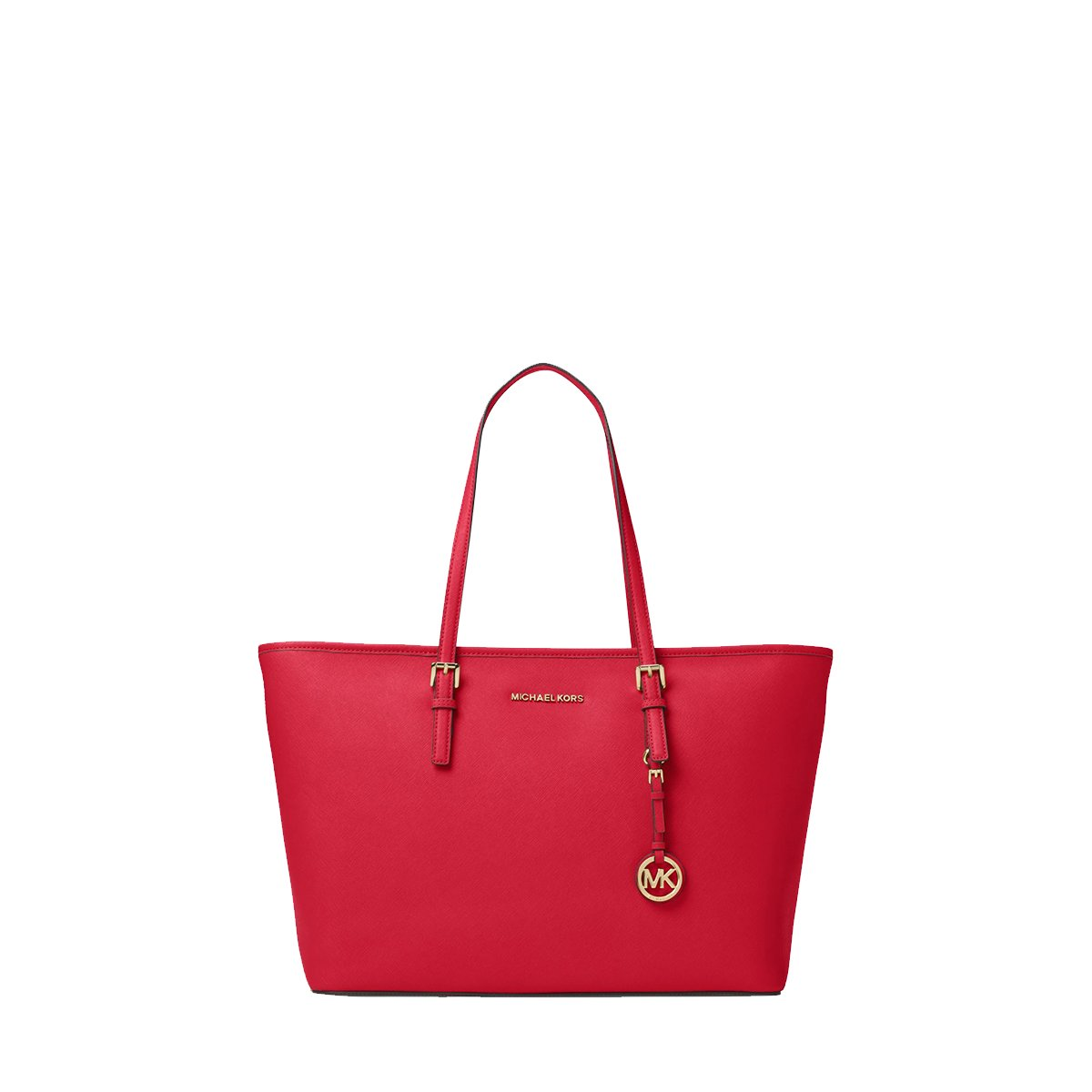 MICHAEL KORS Jet Set Travel Medium Saffiano Leather Top-Zip Tote (Red)