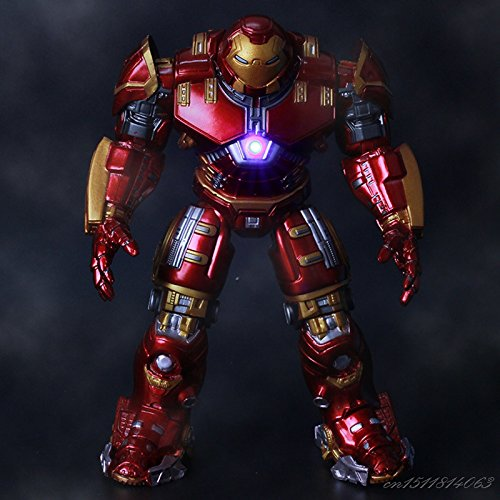 Armor Buster Hulk Ironman (Funny toyy Super Hero Buster Armor Joints Movable Mark With LED Light PVC Action Figure Collection Model For Kids Toy 18cm)