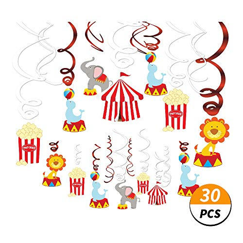 Kristin Paradise 30Ct Carnival Hanging Swirl Decorations - Circus Animals Party Supplies - Circo Birthday Favors for Kids - Ceiling Streamers - Baby Shower, 1st, First Bday Theme Decor