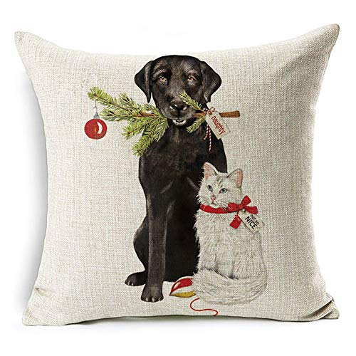 - Acamifashion Christmas Dog Santa Claus Reindeer Cushion Cover Throw Pillow Case Home Sofa Decors (#15 Black Lab and White Kitty)
