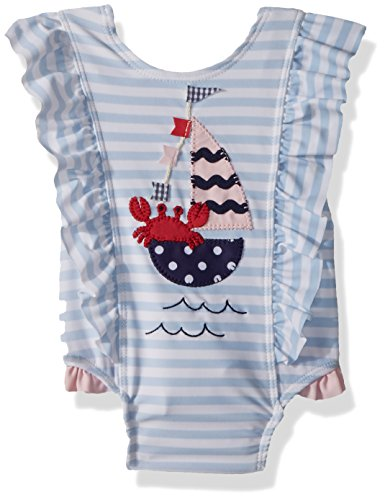 Mud Pie Fashion - Mud Pie Baby Girls Sailboat Ruffle Striped One Piece Swimsuit, Blue, 9-12 Months