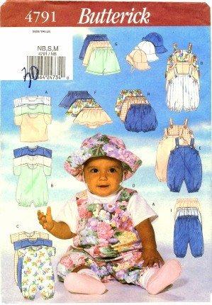 Butterick 4791 Sewing Pattern Infants T-Shirt Romper Jumpsuit Skirt Shorts Pants Hat Newborn - Medium