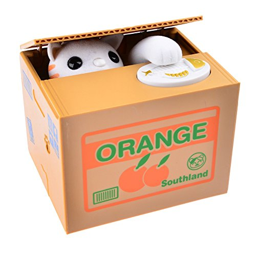 Mischievous Cat Orange Coin Bank For Kids - A Cute Unique Alternative To Piggy Banks - Delights With Realistic Movements and Adorable Designs - Perfect As Kids Birthday Presents or (Mischievous Cats)