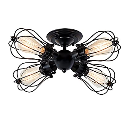 Csinos Industrial Lightning Vintage 4-Light Black Wire Cage Semi-flush Mount Ceiling Lights Fixture