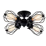 Ceiling Light, Csinos Industrial Black Vintage Ceiling Lighting 4-Light Wire Cage Semi-flush Mount Ceiling Light Fixture