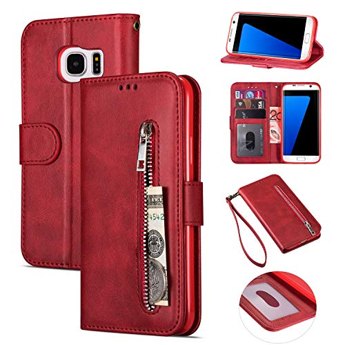 Zipper Wallet Case with Black Dual-use Pen for Samsung Galaxy S7,Aoucase Money Coin Pocket Card Holder Shock Resistant Strap Purse PU Leather Case for Samsung Galaxy S7 - Red
