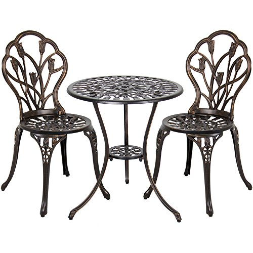 Alek... Garden Patio Furniture Outdoor Park Bistro Antique Copper Table Chair Porch Set