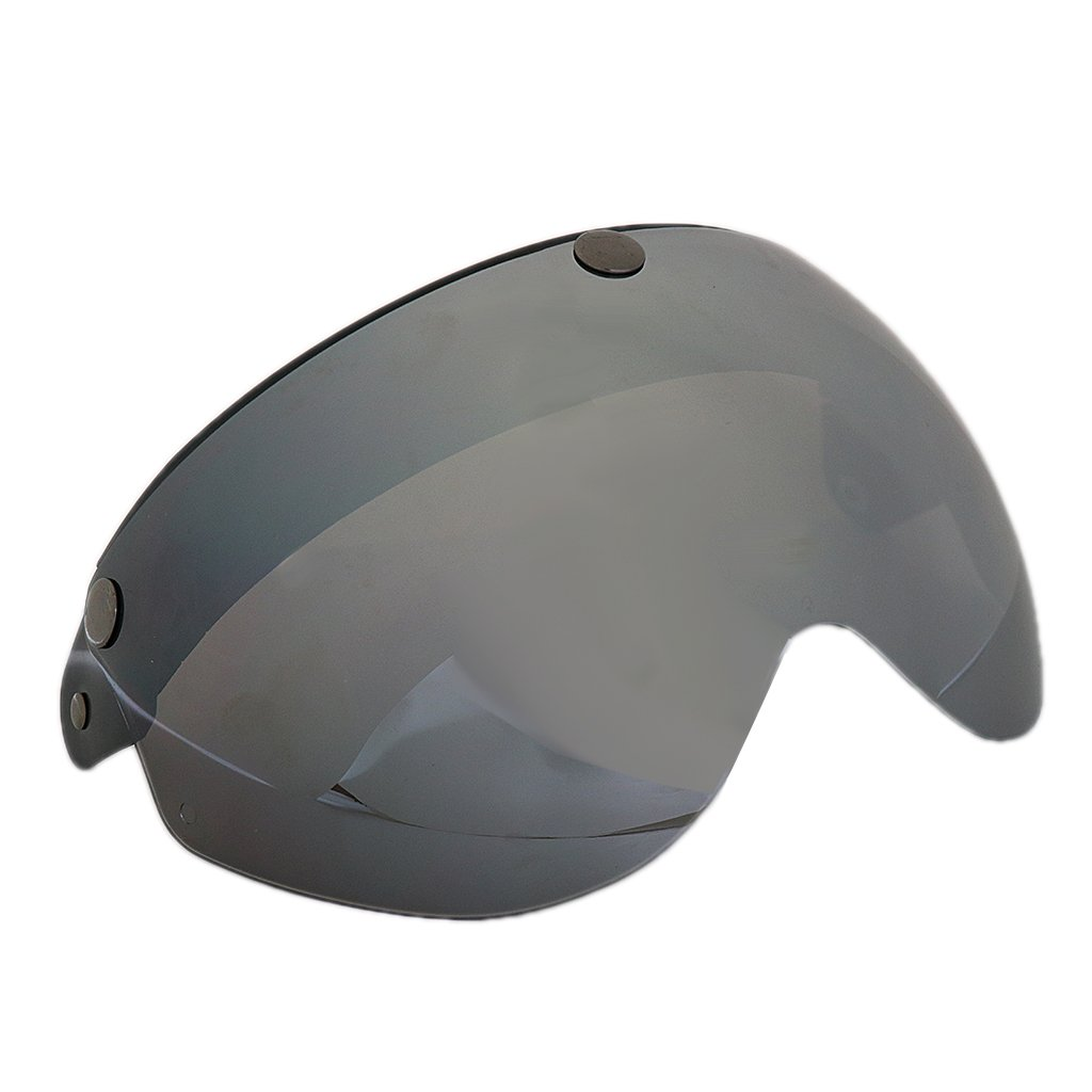 MagiDeal Universal 3 Snap-Button Visor for 3/4 Open Face Motorcycle Helmet Wind Shield Flip Up - Grey
