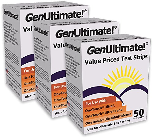 (GenUltimate! Test Strips for OneTouch Ultra, Ultra2, and UltraMini Meters - 3 pack (150 test strips))