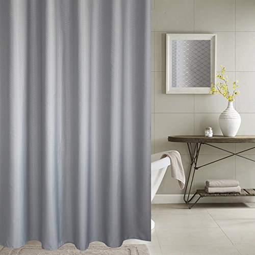 Extra Long Shower Curtain – Aoohome Fabric Bathroom Curtain Waffle Weave Pattern with Weighted Hem, Heavy Duty, Mildew Resistant, 72x86 Inch, Grey