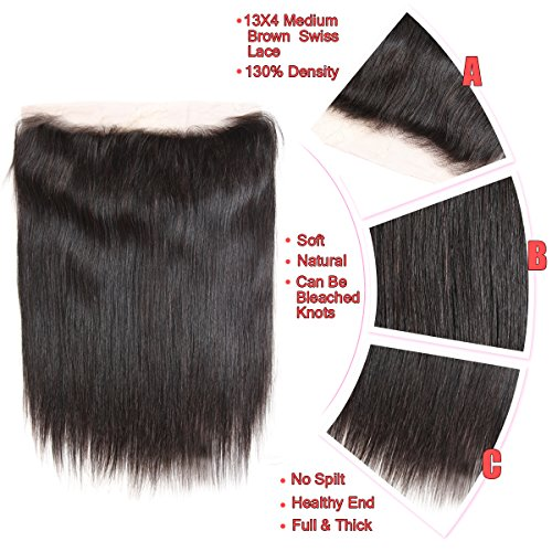 Brazilian Straight Hair 3 Bundles With Frontal Closure 13×4 Ear To Ear Lace Frontal With Bundles 100% Unprocessed Virgin Human Hair Extensions Weave Natural Color (22 24 26 +20 Frontal) by LONG YAO (Image #3)