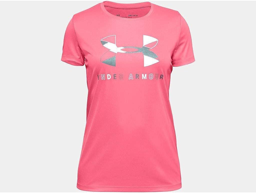 Under Armour Girls Big Logo Tech Short Sleeve Training Workout Shirt Short Sleeve