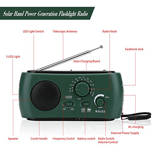 Aramox Hand Crank Self Powered AM/FM Radio Solar Power Emergency NOAA Weather Radio with Power Bank, Emergency Phone Charger, Flashlight by Aramox (Image #7)