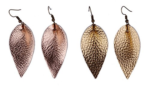 L&N Rainbery 2 Pairs Petal Leather Earrings Faux Leather Teardrop Earrings Leaf Drop Earrings (Rose Gold+Gold)