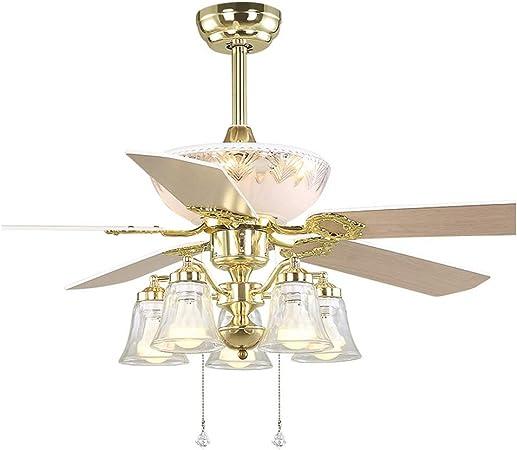 DUOER home Hogar Ventilador Techo Europa Dorado Moderno LED ...