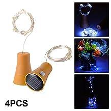 XCSOURCE 4pcs 10 LED Solar Powered Copper Wire Fairy String Light Wine Bottle Cork-shape Bar Lights for DIY Party Wedding Christmas Decor (Cool White) LD1026