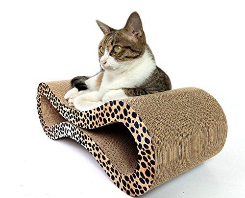 Sevenpring Estera para Dormir de Mascotas Cartulina de cartón Corrugado Grande Corrugado de 8 Formas (Estampado de Leopardo)