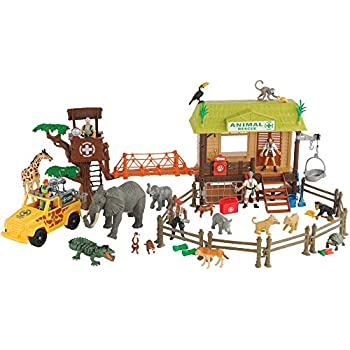 Amazon Com Constructive Playthings Cp Toys 55 Pc Jungle Animal Rescue Playset With 5