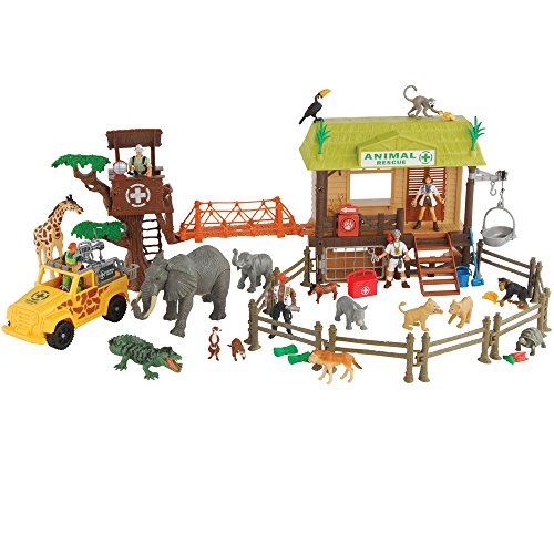 CP Toys 55 pc. Jungle Animal Rescue Playset with 5 Action Figures and Safari Jeep