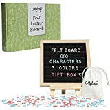 Black Felt Letter Board - Changeable Sign for Messages, Quotes & Announcements | 10x10 Inch Artisan Oak Frame | 680 Characters - Letters, Emojis, White, Blue, Pink | With Tripod Stand & Storage Bags