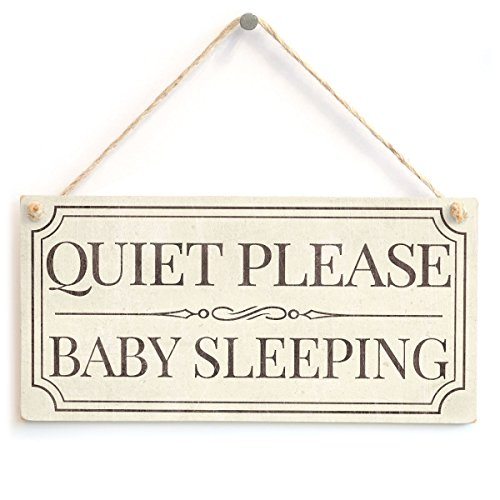 Meijiafei Quiet Please Baby Sleeping - Vintage Look Silence Please Home Accessory Gift Sign/Plaque for Sleeping Babies 10