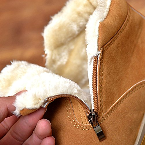 Eagsouni Mens Winter Fur Lined Snow Boot Side Zipper Ankle High Warm Shoe Brown 8McBgrPR