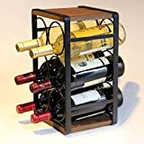 Soduku Metal&Wood Countertop Wine Rack 6 Bottles No Need Assembly