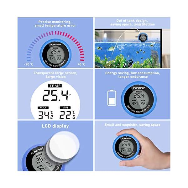 POPETPOP LCD Digital Aquarium Thermometer High Precision Digital Fish Tank Thermometer for Aquarium/Pond/Reptile Turtles Habitats (Blue) 4
