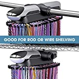 Aniva Motorized Tie Rack Best Closet Organizer with LED Lights, Includes J Hooks for Wired Shelving Stores Up to 72 Ties with 8 Belts, Rotation Operates with Batteries