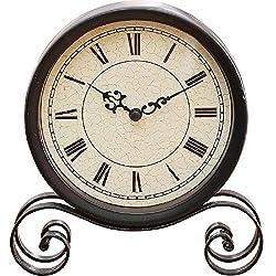 Antique Iron Art Metal Desk Clock Mantel Clock Simple Bedside Table Clocks Battery Powered Home Room Decorative Quiet Retro Nostalgia Creative Design Ornaments Gifts (Color : Black)