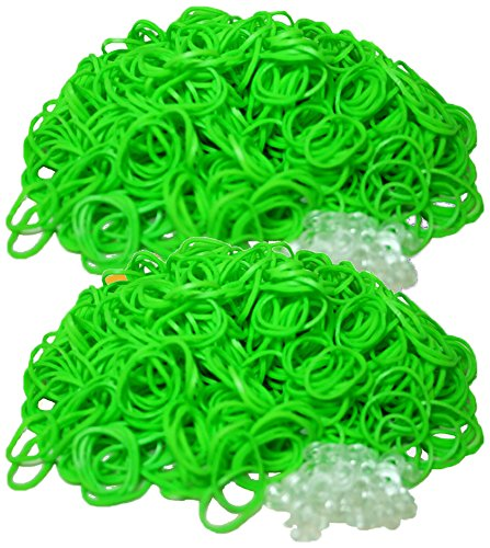 Bluedot Trading 1200 piece lime green rubber band pack Do-It-Yourself Bracelet Kit Refill Pack, Includes Rubber Band and S-Clips for Loom Art/Kids Craft with Rainbow, Lime Green