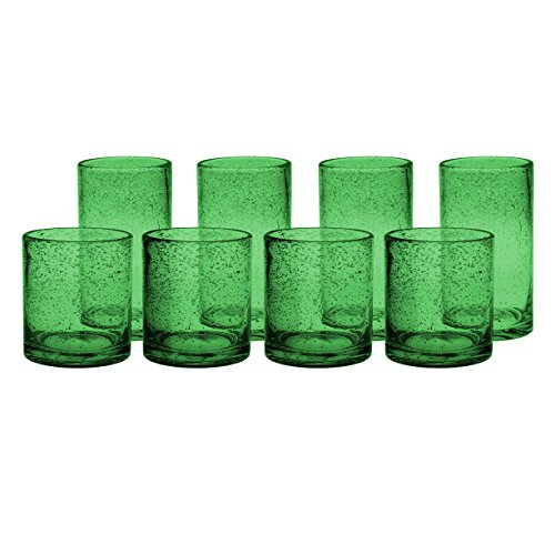 (Artland Iris Green Seeded 8 Piece Double Old Fashioned Glass and Highball Tumbler Set )