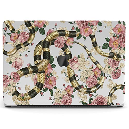 (Wonder Wild Mac Retina Cover Case For MacBook Pro 15 inch 12 11 Clear Hard Air 13 Apple 2019 Protective Laptop 2018 2017 2016 2015 Plastic Print Touch Bar Snake Flowers Pink Pattern Roses Botanical)
