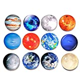 12pcs 1.2inch Solar System Round Crystal Glass Fridge Magnets The Planets Design Magnetic Refrigerator Sticker Home Decoration