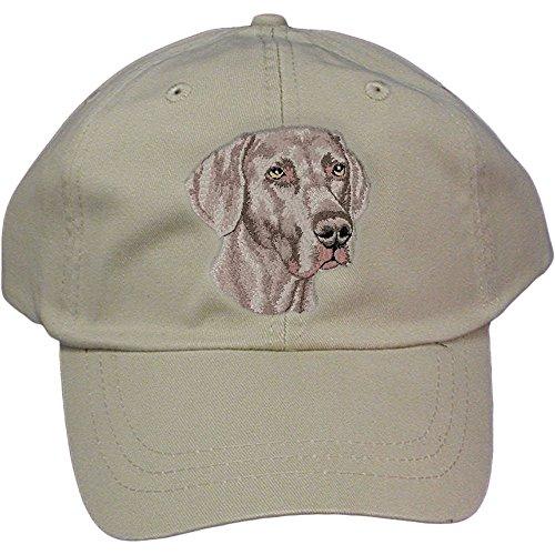 Cherrybrook Dog Breed Embroidered Adams Cotton Twill Caps - Stone - Weimaraner (Weimaraner Hat)