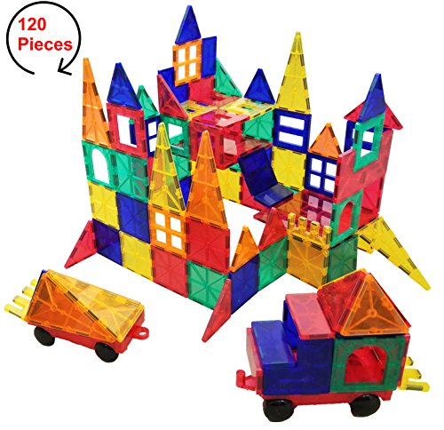 #1 STRONG - 120 Piece Magnetic Building Tiles Set for Kids - Magna Toy Blocks for Educational and Learning - Perfect gift for Boys or (Picasso Square)