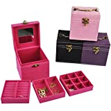 ViVo?? Cube Ring Necklace Bracelet Jewellery Display Storage Vintage Box Case Organiser - Fuchsia Dark Pink by Vivo