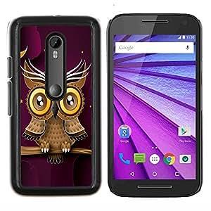 LECELL--Funda protectora / Cubierta / Piel For Motorola MOTO G3 3rd Gen -- Búho púrpura elegante diseño moderno y minimalista --