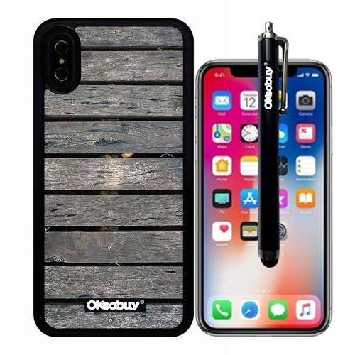 iphone X Case, Transverse Flooring Wood Texture Case, OkSoBuy Ultra Thin Soft Silicone Case for Apple iphone X - Transverse Flooring Wood Texture