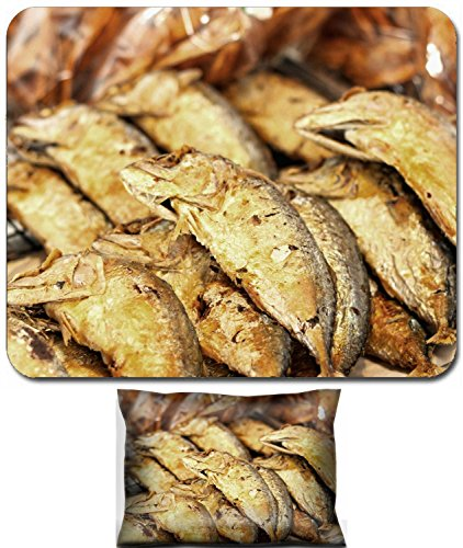 Luxlady Mouse Wrist Rest and Small Mousepad Set, 2pc Wrist Support design Fried mackerel at market IMAGE: - Fried Mackerel