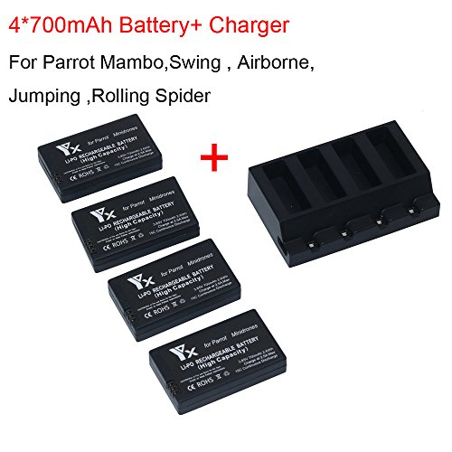 ick Charger + 4x 700mah Battery for Parrot Mambo Mini Drones Jumping Rolling Spider,Drone Accessories (black) ()