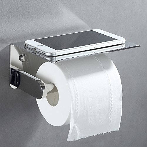 Toilet Paper Holder, APL SUS304 Stainless Steel Bathroom Paper Tissue Holder with Mobile Phone Storage Shelf Rack Polished Chrome (Toilet Holder Polished White Tissue)