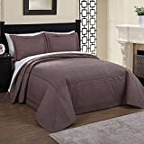 1 Piece 120 x 118 Parisian French Tile Oversized Taupe Brown King Bedspread To The Floor, Extra Long Floral Bedding Xtra Wide Hangs Over Edge Bed Frame, Drapes Drops Down Sides, Cotton Polyester