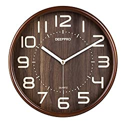 DEEPPRO Silent Wall Clock Wood 12-inches Diameter Non Ticking Digital Quiet Sweep Decorative Vintage Wooden Clock (Natural Brown)
