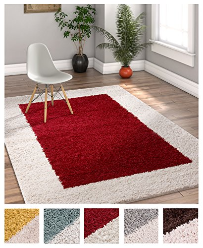 Border Red Area Rugs (Porta Border Modern Geometric Shag 5x7 ( 5' x 7'2'' ) Area Rug Red Beige Plush Easy Care Thick Soft Plush Living Room)